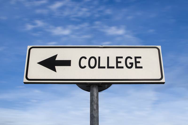 college sign on blue sky
