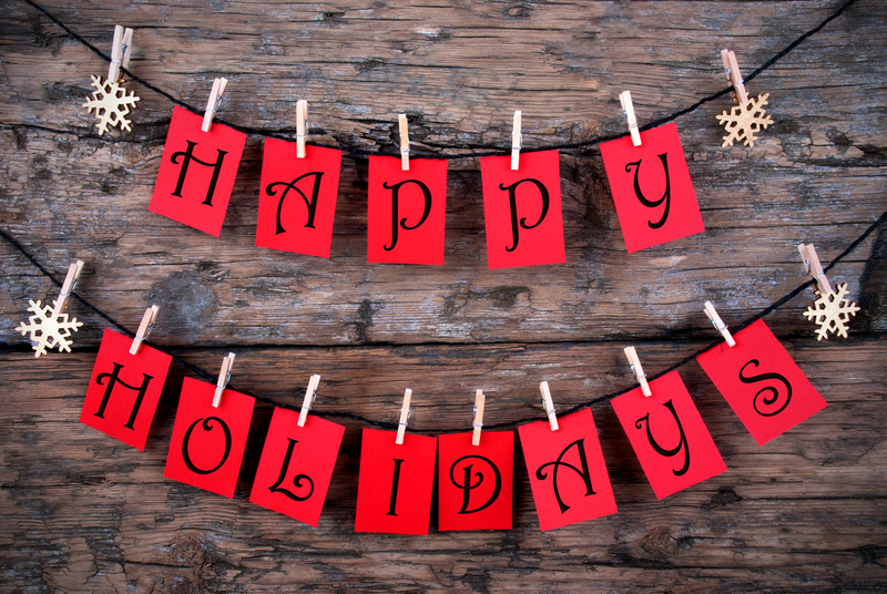 red happy holidays letters