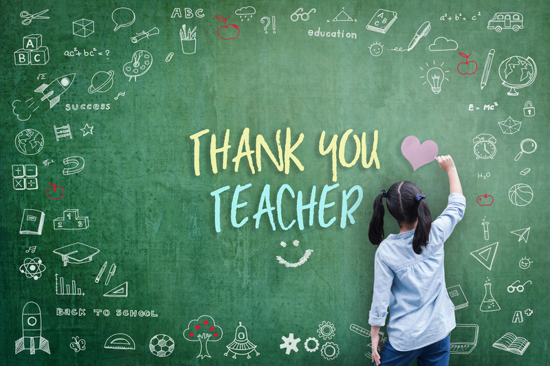 chalkboard with thank you teacher